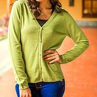 100% cotton cardigan, 'Lime Leaf' - Lightweight Lime Green Cotton Cardigan for Women