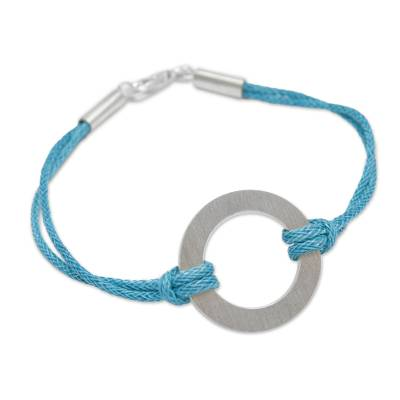 Sterling silver cord bracelet, 'Blue Charm' - Andean Sterling Silver Blue Cord Artisan Crafted Bracelet