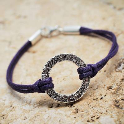 Sterling silver cord bracelet, 'Exalted Purple' - Handmade Andean Sterling Silver Purple Cord Bracelet