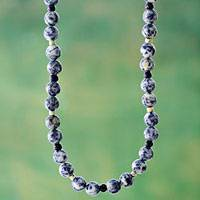 Sodalite and serpentine beaded necklace, 'River Song'