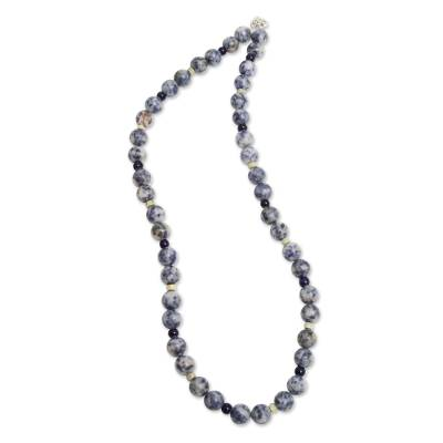 Sodalite and serpentine beaded necklace, 'River Song' - Handmade Andean Sodalite and Serpentine Beaded Necklace