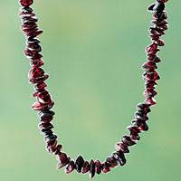 Garnet beaded necklace, 'Andean Scarlet' - Artisan Crafted Andean Long Garnet Necklace from Peru