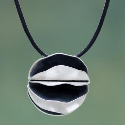 Sterling silver pendant necklace, 'Dark Petals' - Artisan Crafted Necklace Sterling Silver on Leather Cord