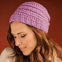 100% alpaca hat, 'Cuzco Lily' - Lilac Alpaca Wool Hat Knitted by Hand in Peru