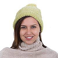 100% alpaca hat, 'Lima Green' - Light Green 100% Alpaca Hat with Pompom Knitted by Hand