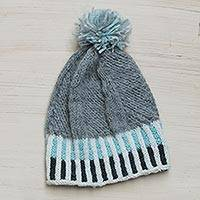 100% alpaca hat, 'Aymara Voyage' - Artisan Knitted Grey Alpaca Pompom Hat from Peru