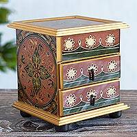 Painted glass jewelry box, 'Glorious Rose' - Artisan Crafted Painted Glass Wood Jewelry Box