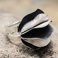 Sterling silver cocktail ring, 'Dark Petals'