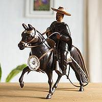 Cedar sculpture, 'Andean Horseman' - Cedar Wood Handcarved Peruvian Horse and Rider Sculpture