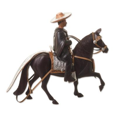 Cedar sculpture, 'Andean Horseman' - Cedar Wood Handcarved Peruvian Horse and Rider Sculpture