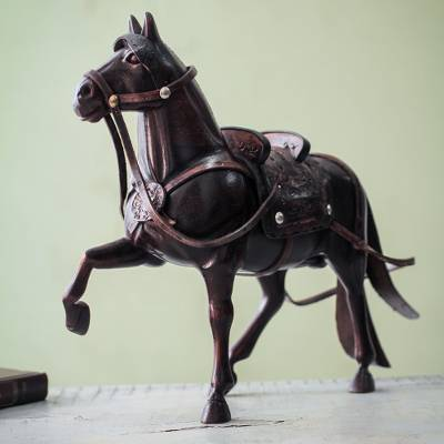 Cedar sculpture, 'Peruvian Walking Horse' - Hand Carved Peruvian Paso Horse Cedar Wood Sculpture