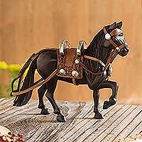 Cedar sculpture, 'Peruvian Paso Horse' - Cedar Wood Hand Carved Peruvian Paso Horse Sculpture