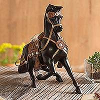 Cedar sculpture, 'Gratitude' - Hand Carved Peruvian Cedar Wood Horse Sculpture