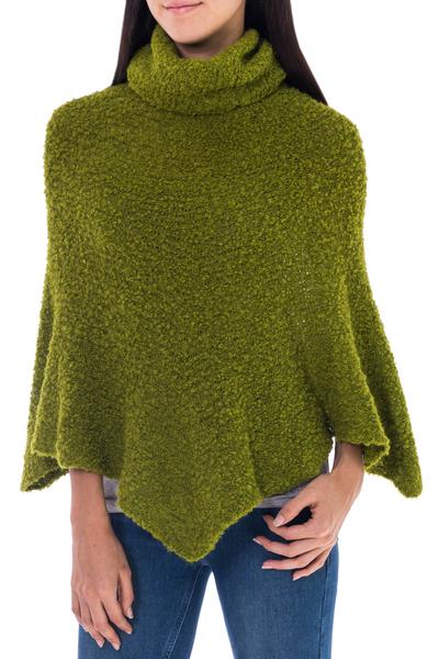 Alpaca blend boucle poncho, 'Cuzco Green' - Warm Turtleneck Green Boucle Poncho in Soft Alpaca Wool
