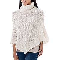 Alpaca blend boucle poncho, 'Cuzco Natural' - Natural Off-White Baby Alpaca Blend Boucle Turtleneck Poncho