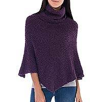 Alpaca blend boucle poncho, 'Cuzco Purple' - Women's Baby Alpaca Blend Boucle Turtleneck Poncho