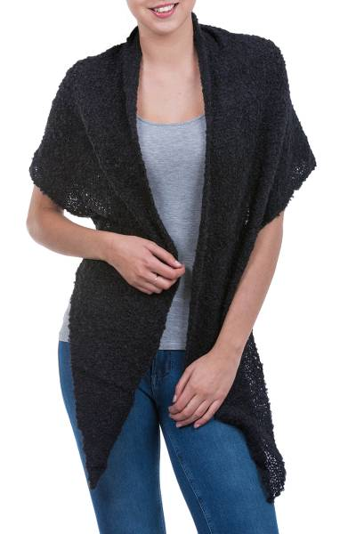Alpaca blend shawl, 'Lima Black' - Triangular Boucle Wrap Shawl in Black Alpaca Blend