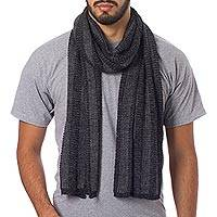 Men's alpaca blend scarf, 'Arequipa Grey' - Men's Alpaca Blend Scarf Patterned in Grey and Black