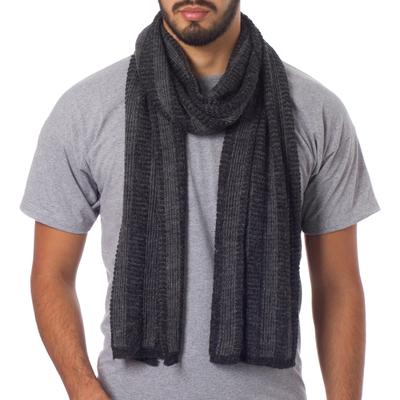 Men's alpaca blend scarf, 'Arequipa Grey' - Men's Alpaca Blend Scarf Patterned in Grey and Black