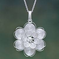 Sterling silver flower necklace, 'Filigree Jasmine'