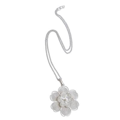 Sterling Filigree Artisan Crafted Peruvian Flower Necklace