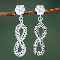Sterling silver flower earrings, 'Infinite Beauty' - Floral Handmade Sterling Silver Filigree Earrings from Peru