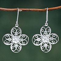 Sterling silver flower earrings, 'Filigree Poppy' - Fair Trade Sterling Silver Filigree Flower Earrings