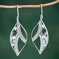 Sterling silver dangle earrings, 'Filigree Foliage' - Hand Made Sterling Silver Filigree Leaf Shape Earrings