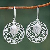Sterling silver filigree earrings, 'Starry Eyes' - Sterling Silver Filigree Dangle Earrings with Copper Accents