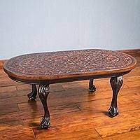 Mohena wood and leather coffee table, 'Regency' - Andean Hardwood Oval Coffee Table with Hand Tooled Leather