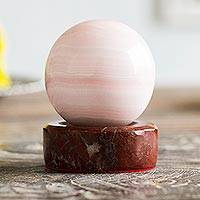 Manganese sphere, 'Pale Rose' - Andean Pink Manganese Gemstone Sculpture and Garnet Stand