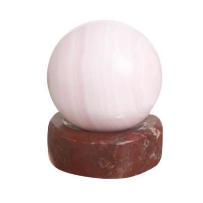 Andean Pink Manganese Gemstone Sculpture and Garnet Stand