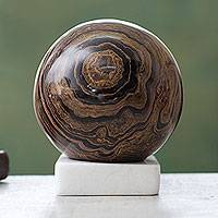 Stromatolite sphere, 'Our Earth' - Handcrafted Andean Stromatolite Sculpture with Onyx Stand