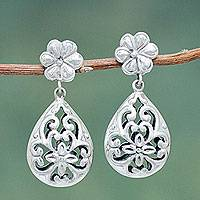 Sterling silver flower earrings, 'Wild Charm' - Artisan Crafted Sterling Silver Earrings with Open Work