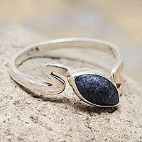 Sodalite single stone ring, 'Blue Flow' - Sodalite Sterling Silver Ring Artisan Crafted Jewelry