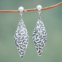 Sterling silver dangle earrings, 'Lunar Rhombus' - Artisan Crafted Sterling Silver Dangle Earrings from Peru