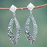Sterling silver dangle earrings, 'Moon Spies' - Modern Sterling Silver Earrings Crafted by Hand