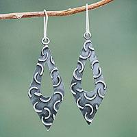 Sterling silver dangle earrings, 'New Moon Rhombus'