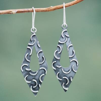 Sterling silver dangle earrings, 'New Moon Rhombus' - Burnished Sterling Silver Earrings Crafted by Hand