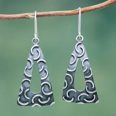 Sterling silver dangle earrings, 'New Moon Pyramids' - Burnished Sterling Silver Triangle Earrings Crafted by Hand