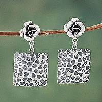 Sterling silver flower earrings, 'Rose Heart' - Sterling Silver Earrings with Flowers and Hearts from Peru