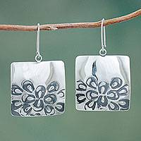 Sterling silver flower earrings, 'Moonlit Blooms' - Sterling Silver Square Earrings with Burnished Flowers