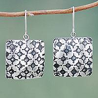 Sterling silver dangle earrings, 'Lunar Crosses' - Burnished Inca Pattern Sterling Silver Handcrafted Earrings