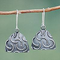 Sterling silver dangle earrings, 'New Moon Hills' - Sterling Silver Burnished Triangle Earrings Crafted by Hand