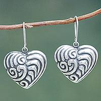 Sterling silver heart earrings, 'Whirling Love' - Hand Crafted Sterling Silver Heart Earrings from Peru