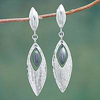 Sterling silver dangle earrings, 'Sonata' - Artisan Crafted Jewelry Sterling Silver Hammered Earrings