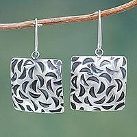 Sterling silver dangle earrings, 'Lunar Squares' - Sterling Silver Square Earrings with Burnished Accents