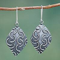 Sterling silver dangle earrings, 'New Moon Diamonds' - Artisan Crafted Jewelry Sterling Silver Hook Earrings