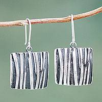 Sterling silver dangle earrings, 'Wilderness Windows' (1.6 inch) - Artisan Crafted Sterling Silver Dangle Earrings (1.6 Inch)