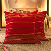 Alpaca blend cushion covers, 'Peruvian Cherry' (pair) - Red Alpaca Blend Hand Woven Cushion Cover Pair